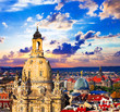 landmarks of Germany - beautiful baroque Dresden over sunset