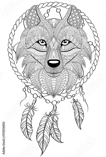 Dream Catcher With Wolf Tattoo Or Adult Antistress Coloring Page