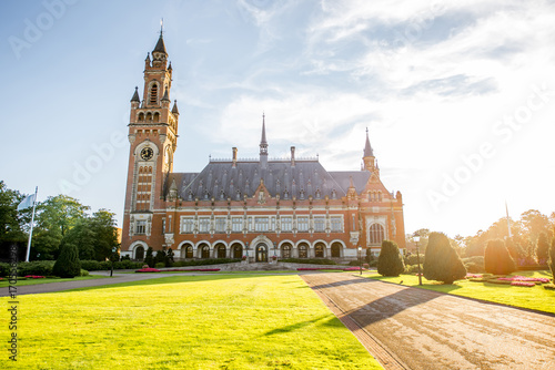 Foto op Canvas Londen rode bus Sunset view on the Peace palace the seat of international law in Haag city, Netherlands