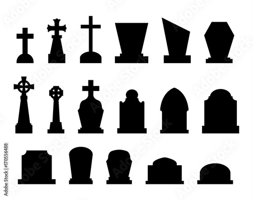 Cuadros en Lienzo Set of tombstones with different forms.