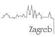 Zagreb city one line drawing background