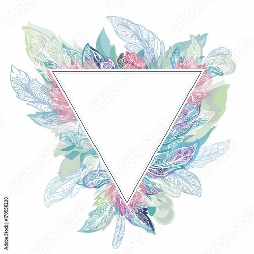Aluminium Prints Boho Style Vector Triangle Boho Frame