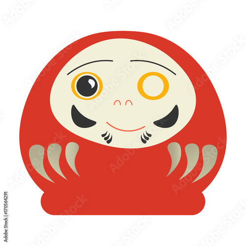 Vector illustration of Japanese Traditional Daruma Doll with