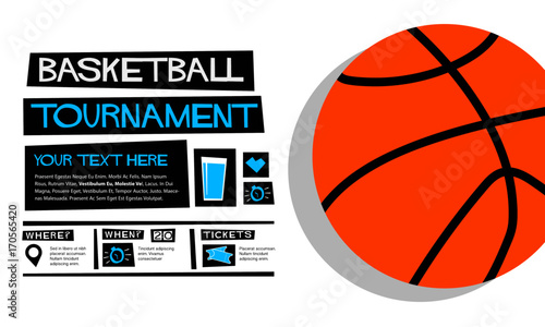 basketball tournament flat style vector illustration sports poster