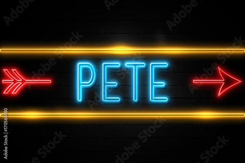 Photo  Pete  - fluorescent Neon Sign on brickwall Front view