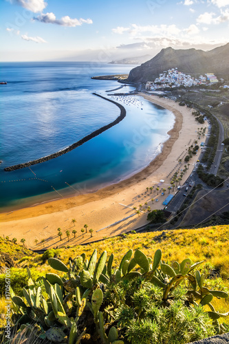 Tuinposter Canarische Eilanden Amazing view of beach las Teresitas with yellow sand. Location: Santa Cruz de Tenerife, Tenerife, Canary Islands. Artistic picture. Beauty world.