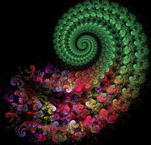 Fractal Illustration Of A Bright Spiral With Floral Patterns