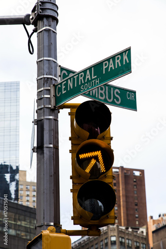 Photo  Yello Traffic Light Central Park South & Colombus