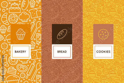 Vector set of design templates and elements for bakery packaging in trendy linear stylecake shop