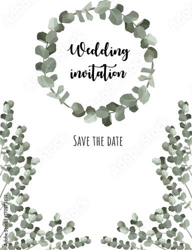 Wedding Invitation Template Eucalyptus Wreath Vector Design Save