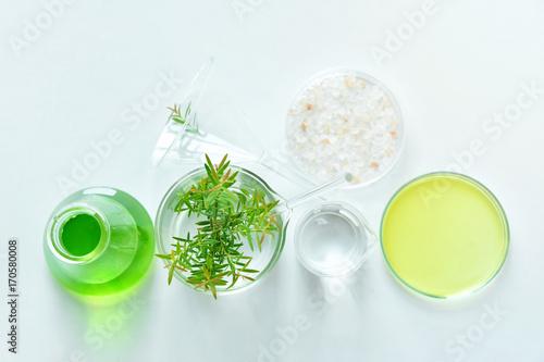Foto  Natural organic botany and scientific glassware, Alternative her