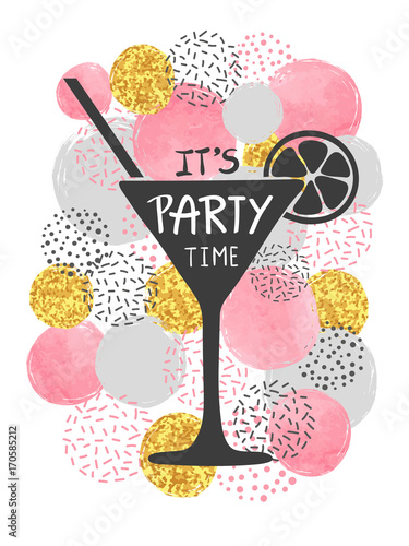 478a6caeb8 Invitation card design for Cocktail Party. Vector illustration ...