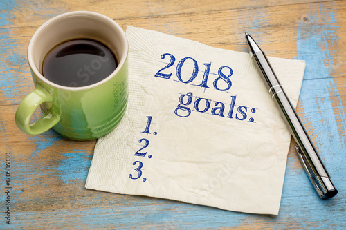 Fotografering  2018 year goals list on napkin