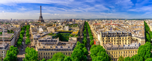 Spoed Foto op Canvas Parijs Skyline of Paris with Eiffel Tower in Paris, France