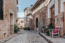Empty Narrow Cobbled Street In...