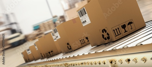 Fotografía  Composite image of packed courier on production line