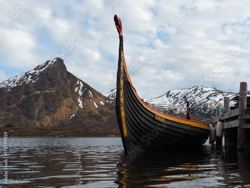 Photo A viking ship (Drakkar) in Norway.