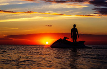 Silhouette Of A Man On A Jet S...