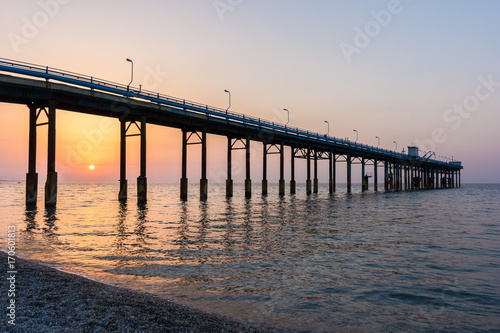 Canvas Prints Cappuccino Wonderful seascape of a Pier in the sunrise.