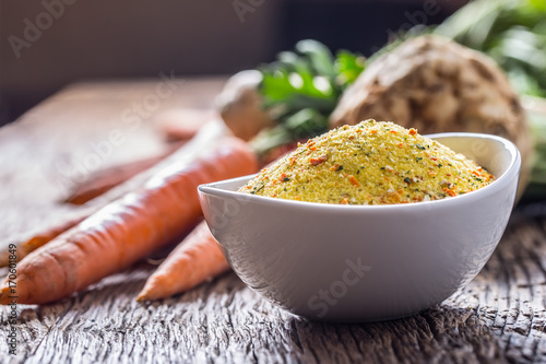 Vegeta seasoning spices condiment with dehydrated carrot parsley celery parsnips Poster