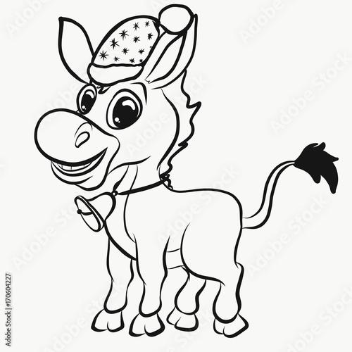 Tuinposter Doe het zelf Christmas coloring, cool donkey