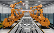 canvas print picture - robot assembly line in car factory