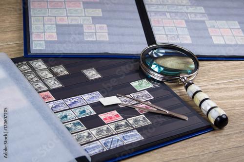 Kolekcja znaczków pocztowych Fototapet