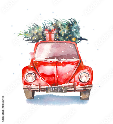 Deurstickers Cartoon cars Christmas illustration. Watercolor retro car with gift box and christmas tree on top and snowflakes. Isolated winter holiday object on white background