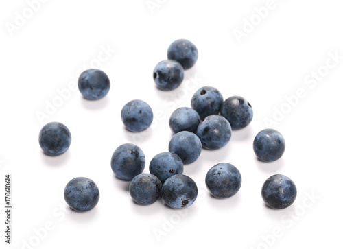 Photo  Fresh blackthorn berries pile, prunus spinosa isolated on white background