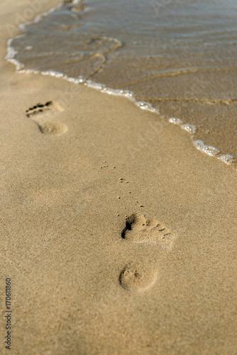 Obraz na plátně ślady na brzegu