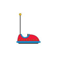 Electric Bumper Red Car Flat Line Icon, Amusement Park, Children Toy Car, Children Electric Car
