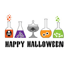 Halloween Typography With Spooky Lab Bottles