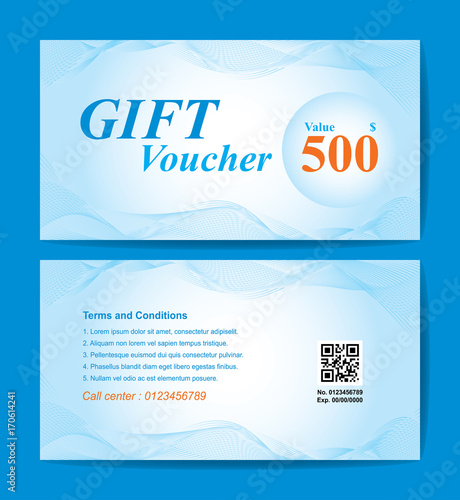 Gift Voucher Template Orange Blue Line Background Front Back Two