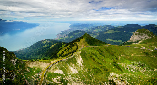 View from Rocher de Naye, Switzerland, towards Lake Leman. Canvas Print