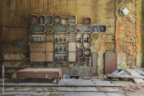 Photo Stands Old abandoned buildings Set of Voltage boxes