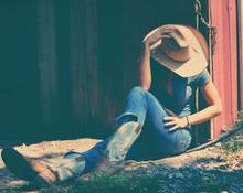 Cowgirl Showing Western Fashio...