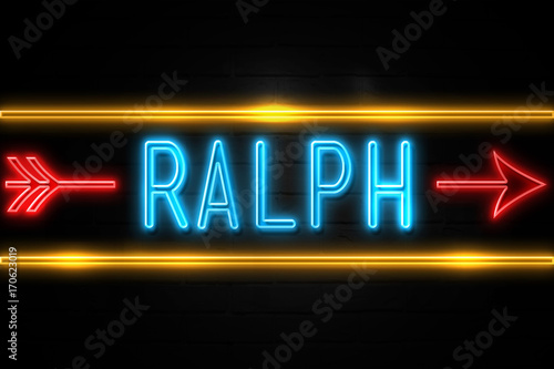 Ralph  - fluorescent Neon Sign on brickwall Front view Canvas Print