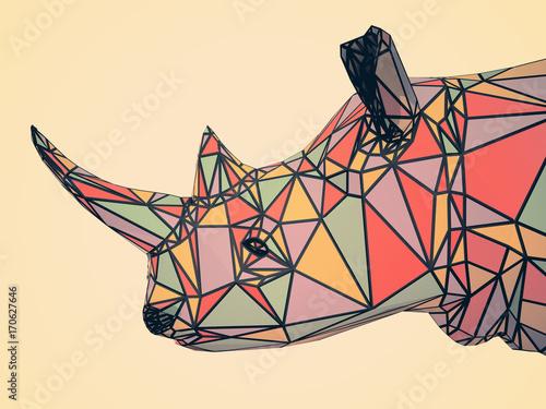 3D illustration of rhinoceros flat head