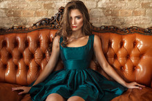 Luxury Woman Sitting At Leater...