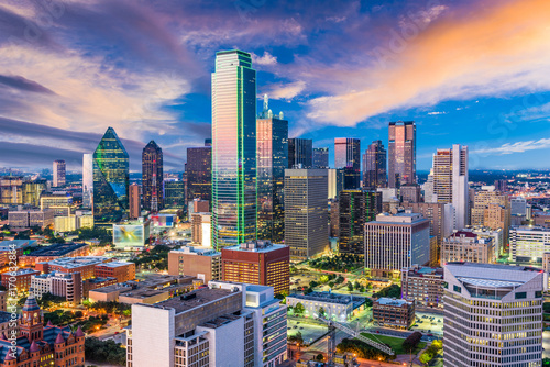 plakat Dallas Texas Skyline