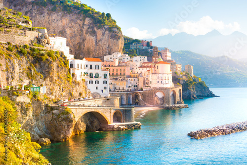 Poster Mediterraans Europa Morning view of Amalfi cityscape on coast line of mediterranean sea, Italy
