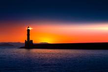 Lighthouse On Sunset. Chania, Crete, Greece.