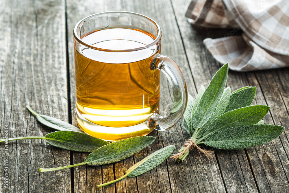 Fototapety, obrazy: Sage tea and leaves.