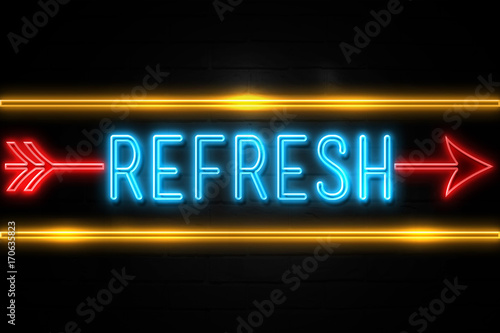 Refresh  - fluorescent Neon Sign on brickwall Front view Canvas Print