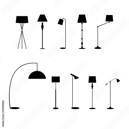 Photographie Standing lampshade icon set