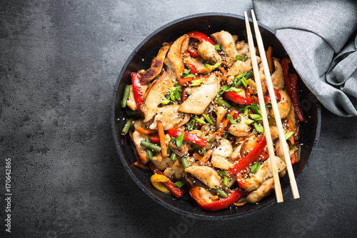 Photo  Chicken stir fry with   vegetables.