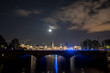 nightly panorama of Hamburg - Inner City with full moon