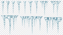 Set Of Translucent Icicles. Transparency Only In Vector File