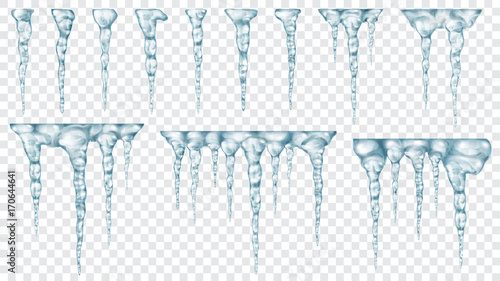 Cuadros en Lienzo Set of translucent icicles. Transparency only in vector file