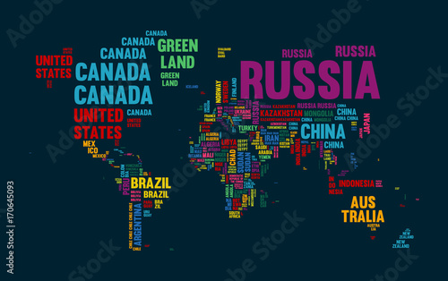 Fotomural Text world map country name typography design